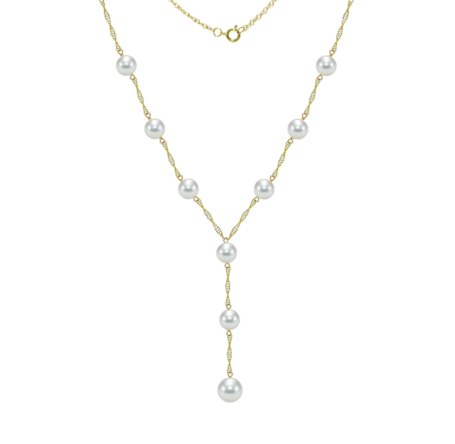 Lariat Tin Cup Station Gold Chain Necklace Cultured Saltwater White Akoya Pearl Jewelry for Women