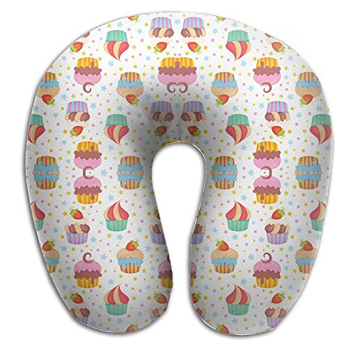 Cupcakes - White Memory Foam Travel Neck Pillow U Shaped Travel Neck Support Cushion Soft Classic Baby Cupcake