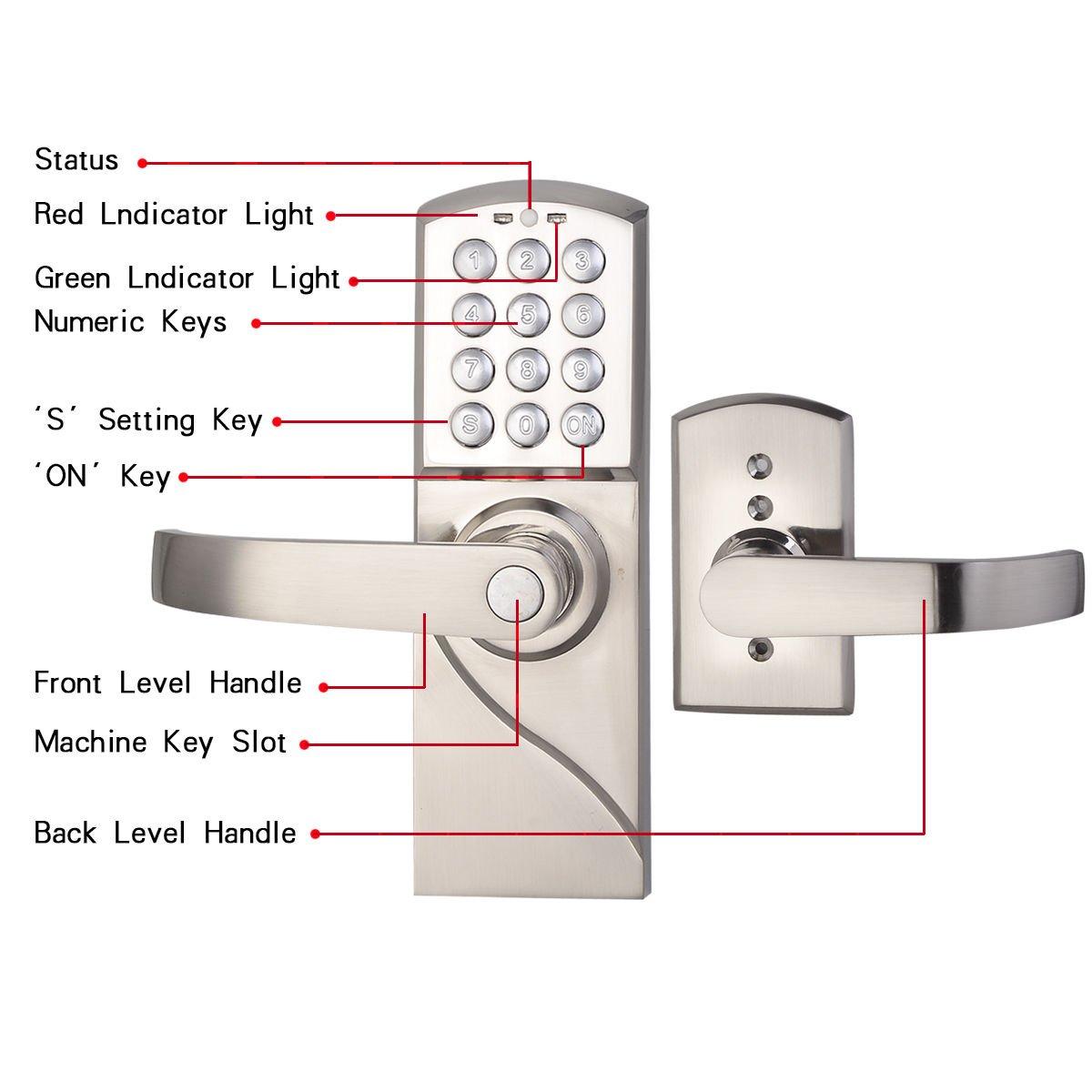 Amazon.com: Digital Electronic Security Entry Door Lock Left Handle ...