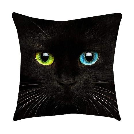 VJGOAL Moda Lindo Negro Ojos de Gato impresión en casa Decorativo Suave sofá cómodo Cojín Cuadrado Funda de Almohada(45_x_45_cm,Negro8)