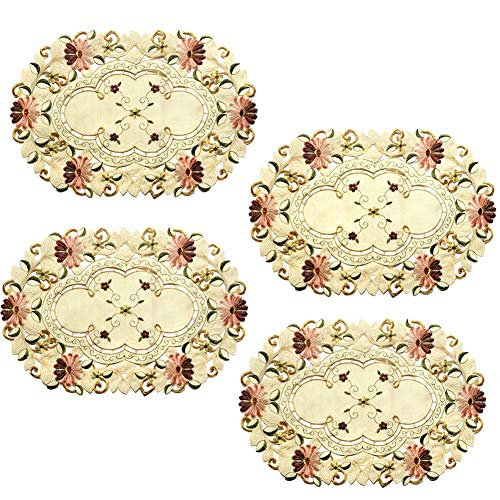Oval Placemat Gifts - yazi Victoria Style Embroidered Daisy Flower Beige Table Doily Mother's Day Gift, Pack of 4