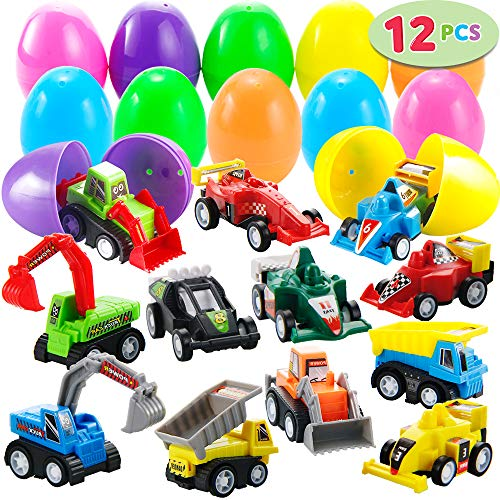 "12 Pcs Filled Easter Eggs with Toy Cars, 3.2"" Bright Colorful Easter Eggs Prefilled with Pull Back Construction Vehicles and Race -"