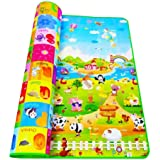 Wazdorf Double Side Waterproof Anti Skid Baby Crawling Play Floor Mat for Kids (Large, 120 x 180 cm, Multicolour)