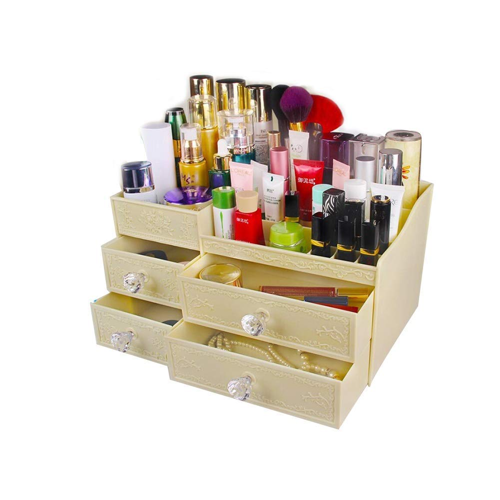 DDPGOFMB Cosmetic Organizers Cosmetic Organizers European Grosz; Cosmetic Storage Box Skin Care Finishing Box Storage Box for Multi-Layer Drawers (Color: Yellow) (Color : Gelb, Size : -)