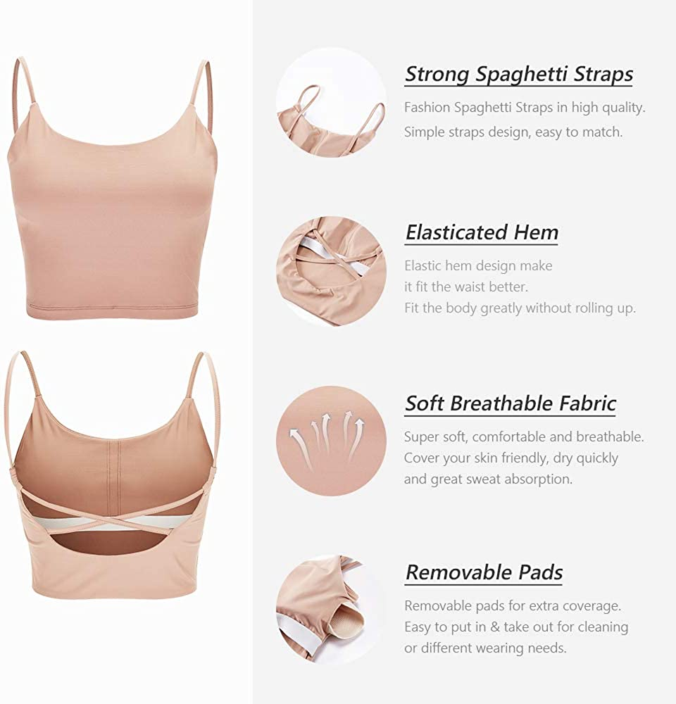 Breathable Soft Top Corp for Workout Fitness with Removable Padded La Nikar Yoga Gym Sports Bras for Women Mini Camisole