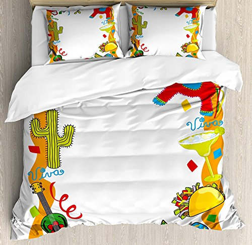 Fiesta Bedding Duvet Cover Sets for Children/Adult/Kids/Teens Twin Size, Cartoon Drawing Style Mexican Pinata Taco Chili Pepper Sugar Skull Pattern Guitar, Hotel Luxury Decorative 4pcs Set, Multicolor by Family Decor