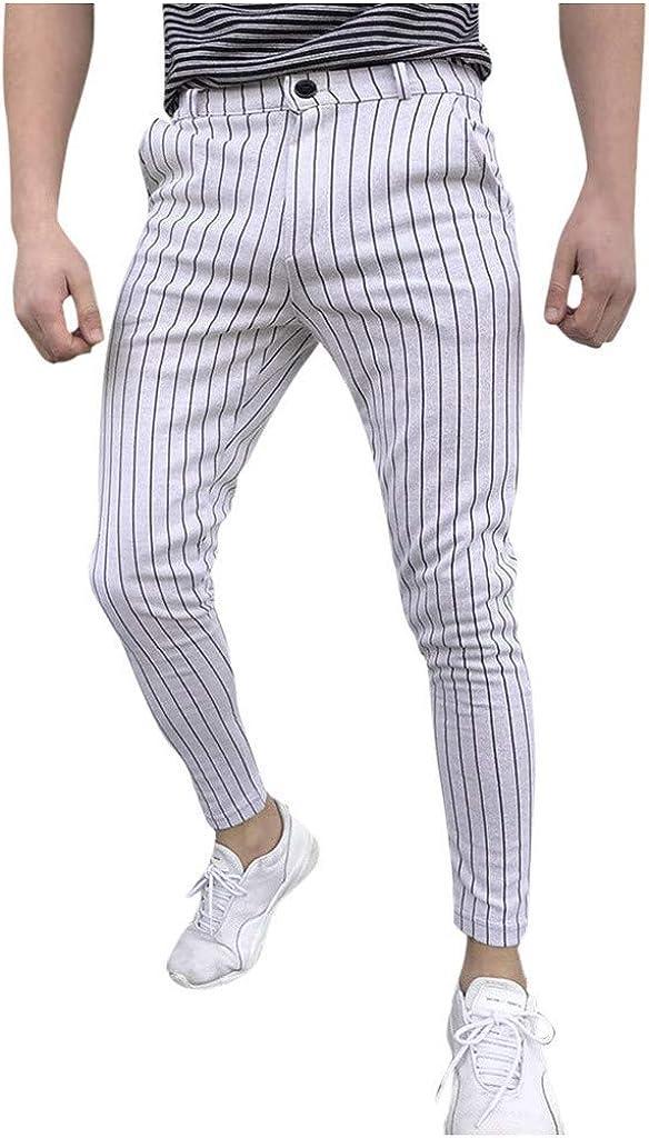 Yuiopmo Pantaloni da Uomo Casual Slim Fit Attillati da Uomo Pantaloni da Taschino A Righe Casual da Uomo Eleganti Uomo Fitness Moda Sportivo Pantalone