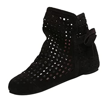 Amazon.com  Fiaya Women s Slip On Cute Booties Flat Low Hidden Wedge ... b62b0826bf