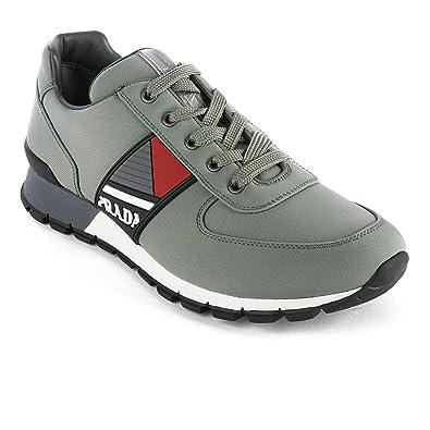 7c33342d8c91c Amazon.com | Prada Men's Leather Fabric Low Top Sneaker Shoes Olive ...
