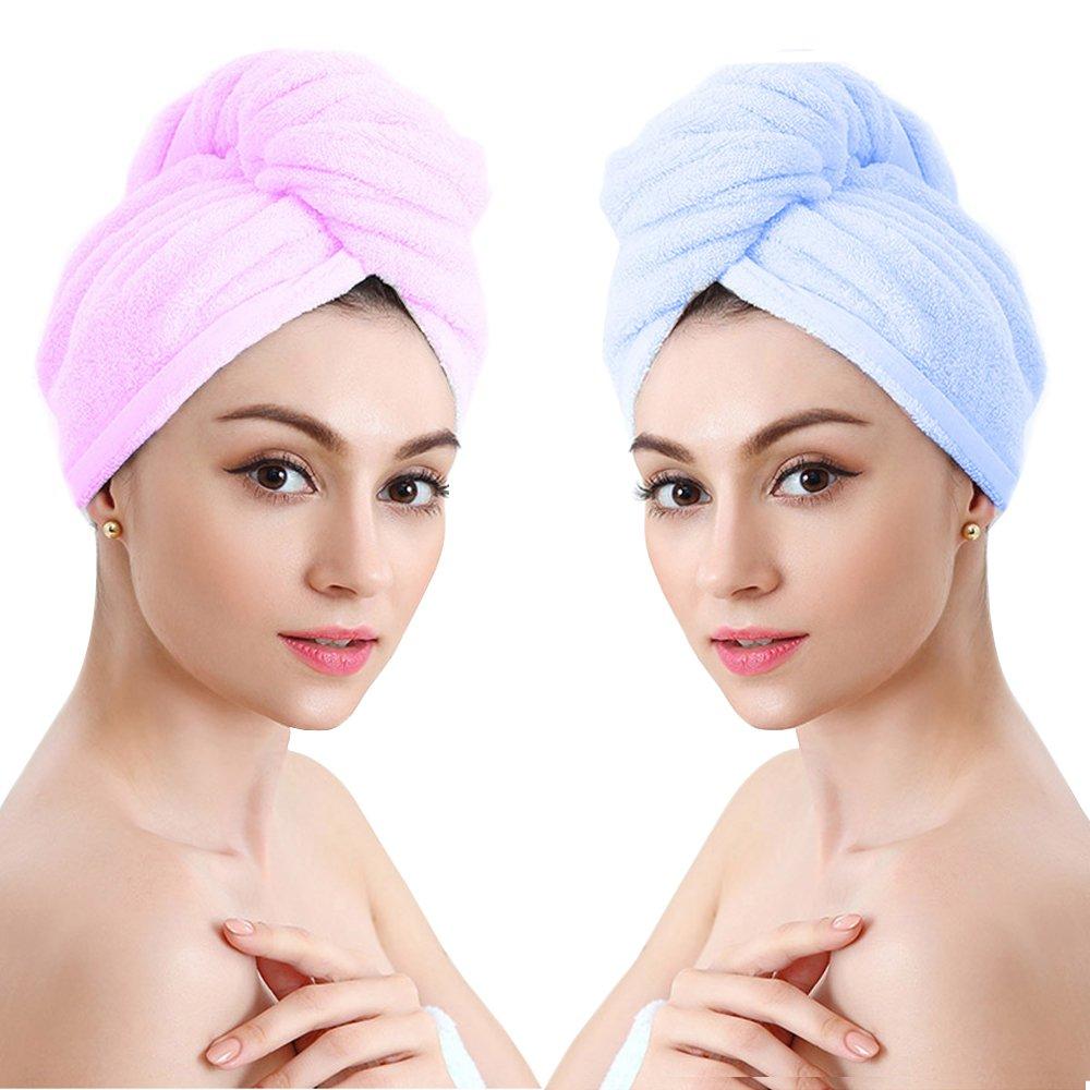Asciugamano Capelli Turbante Microfibra Asciugatura Rapida Asciugamani Telo Doccia Bagno per Capelli Asciugamano Super Assorbente per Bagno Spa Trucco 2 pezzi,Blu e Viola