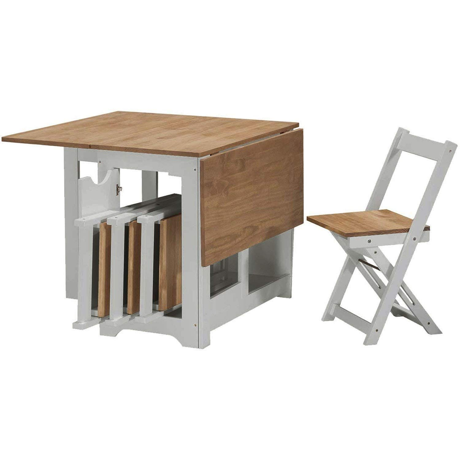 - Kitchen Dining Table With 4 Chairs Set Folding Butterfly Wooden Fold Away  EBay