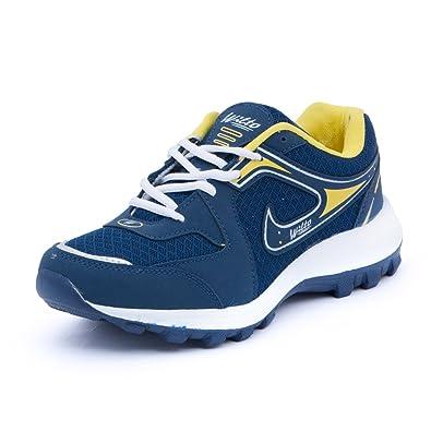 Asian Men\u0027s Navy Blue \u0026 Yellow Mesh Bullet Range Running Shoes ...