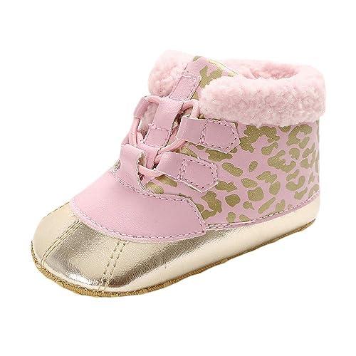 Amazon.com | Winter Warm Plush Lace Up Snow Boots for Girls Boys, Prewalker Frenulum Sport Shoes | Slippers