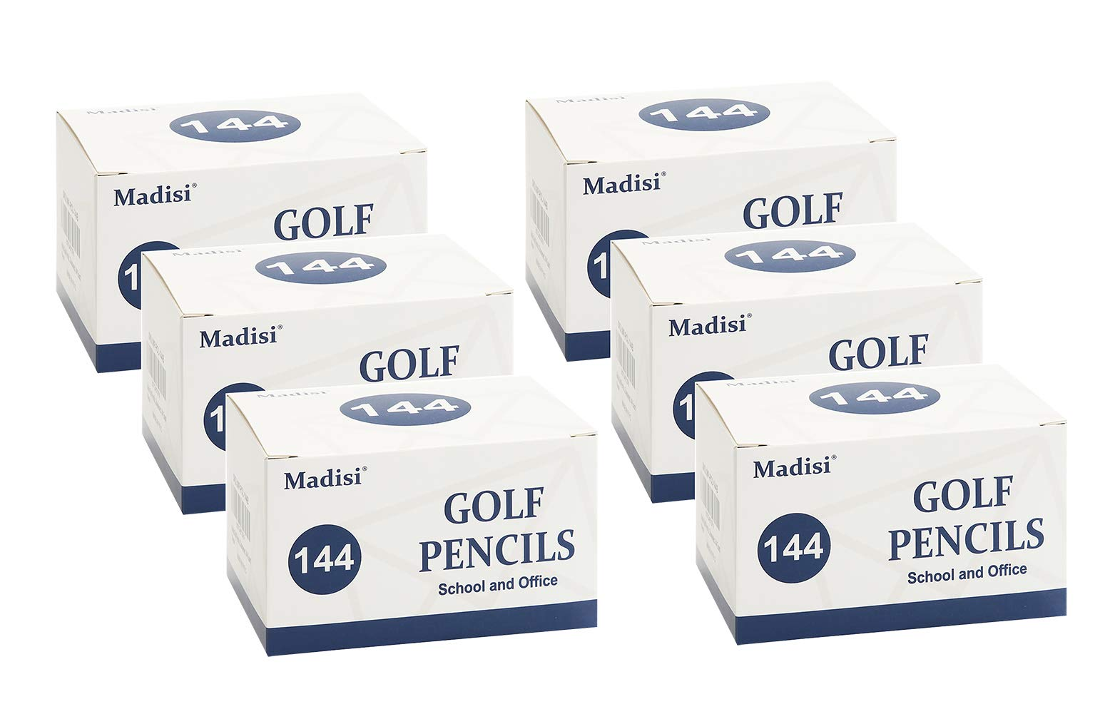 Madisi Golf Pencils, 2 HB Half Pencils, 3.5'' Mini Pencils, Pre-Sharpened, 6 Boxes, 864 Count by Madisi