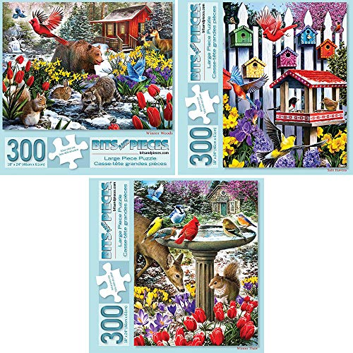 Bits and Pieces - Set of Three (3) 300 Piece Jigsaw Puzzles for Adults - Each Puzzle Measures 18 X 24 - Winter Woods, Safe Havens, Winters Thaw Jigsaws by Artist Larry Jones