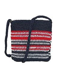 Dynamic Asia Striped Crochet Cross Body Handbag