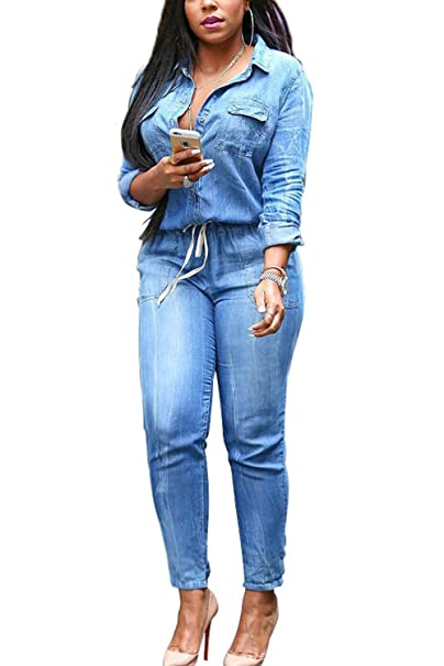 ee8292d59b40 Amazon.com  Women s Casual Lapel Drawstring Fit Slim Denim Jumpsuits ...