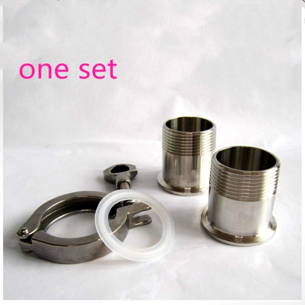 PTFE Gasket Stainless Steel SS304 JIAIIO 1//2 DN15 Sanitary Male Thread Set Ferrule OD 50.5MM Pipe Fittings Tri Clamp