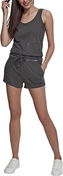 Urban Classics Ladies Cold Dye Short Jumpsuit, Mono Largo para Mujer, Gris (Grey 00111), Small