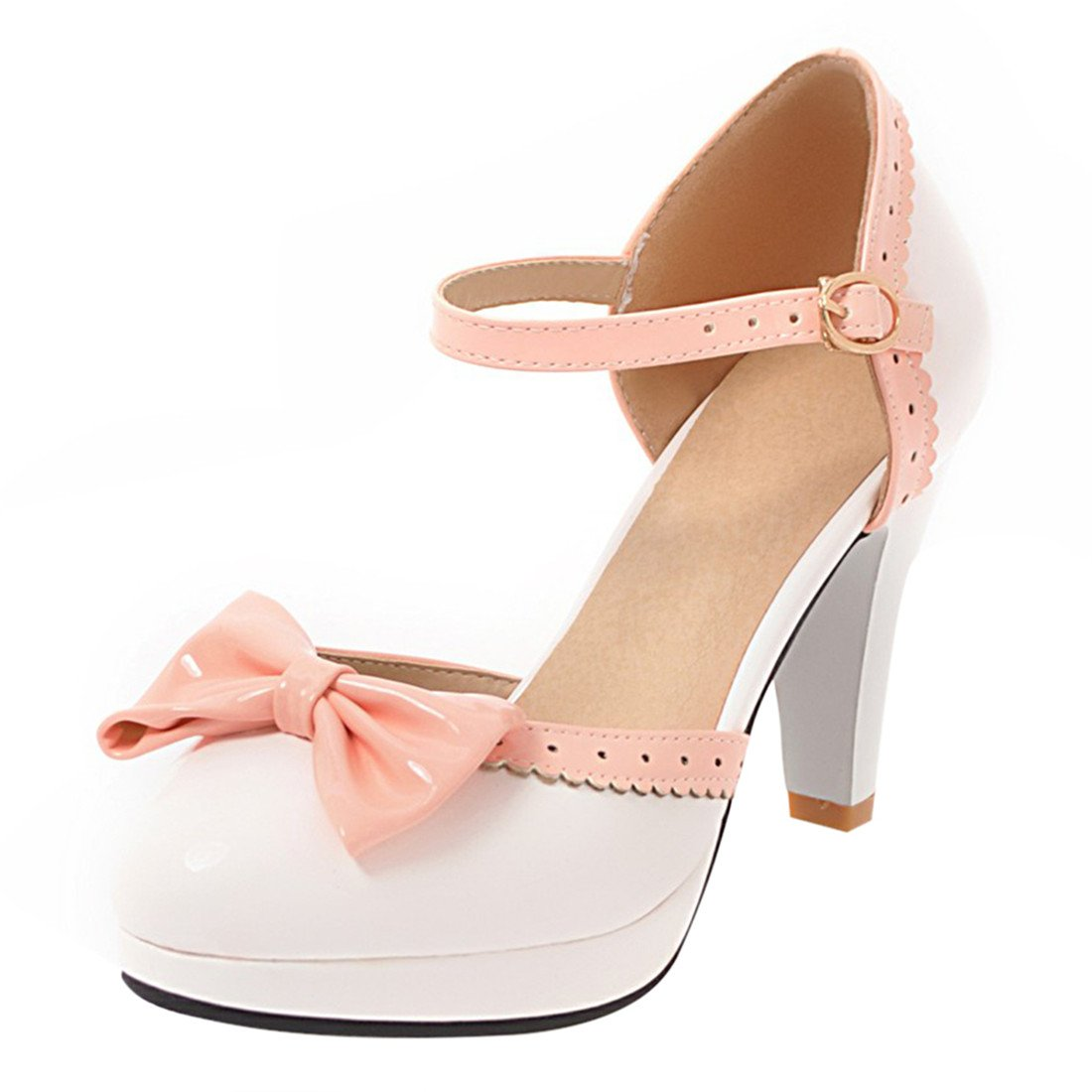 YE Damen Ankle Strap Pumps Rockabilly Lack High Heels Blockabsatz Geschlossen mit Riemchen und Schleife Elegant Süß Schuhe  36 EU|Wei?