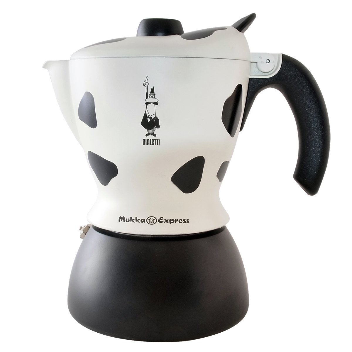 Bialetti Mukka Express 2-Cup Cow-Print Stovetop Cappuccino Maker, Black and White 06989 3418/EXP_schwarz/weiß-21 3x17 5x13