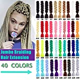 Jumbo Braids Hair Extensions Synthetic Kanekalon Braiding Hair For Twist Braiding Hair Box Braids Hair 24inch 100g/Pack 5 Packs (A40 Silver Gray)