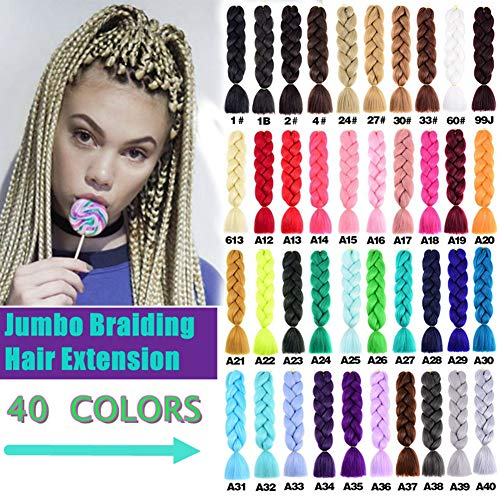 Platinum Braid - Jumbo Braids Hair Extensions Synthetic Kanekalon Braiding Hair For Twist Braiding Hair Box Braids Hair 24inch 100g/Pack 5 Packs (#60 Platinum Blonde)