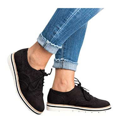 c2949be79ae6 Womens Ankle Flat Suede Lace-up Sport Shoes Walking Running Casual Fashion  Sneakers (Black