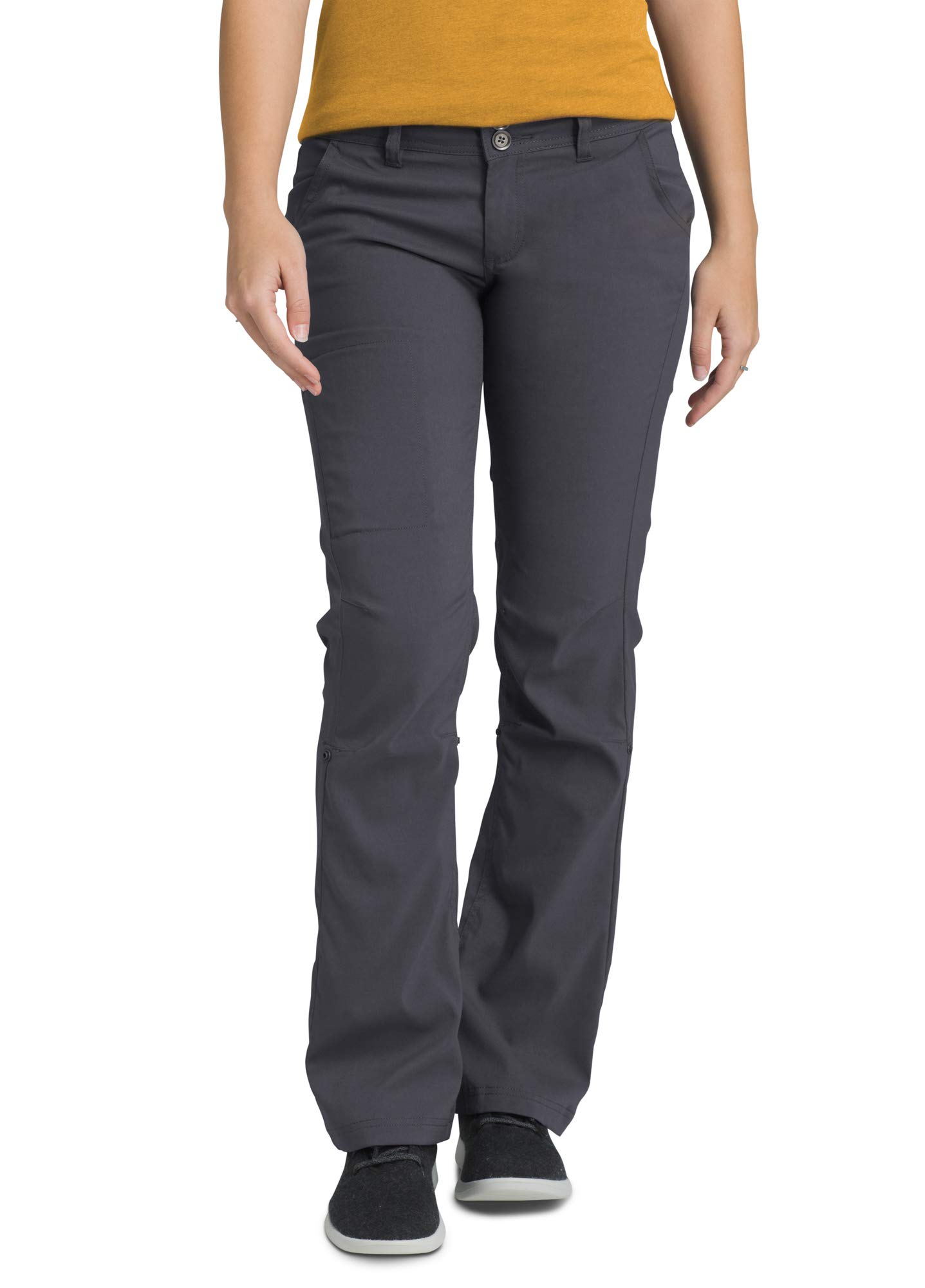 prAna - Women's Halle Roll-up, Water-Repellent Stretch Pants for Hiking and Everyday Wear, Regular Inseam, Coal, 12 by prAna