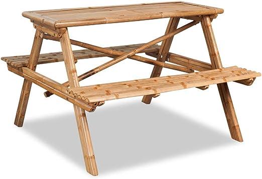 Luckyfu Mesa de Picnic de bambú 120 x 120 x 78 cm.Cómodo Moderno ...