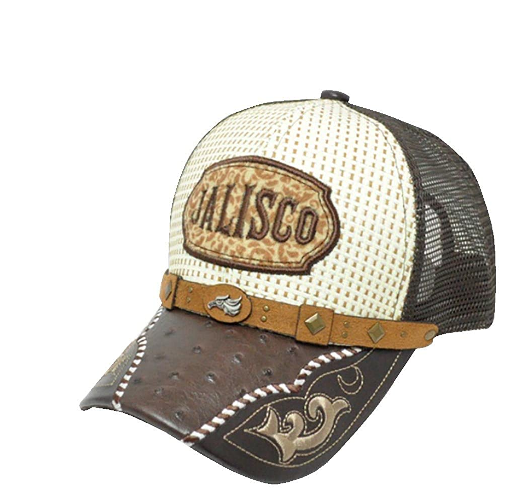 RobsTees Gorra Charra De Jalisco Metal Emblem Woven Mexico Flag Palma Mesh Straw Trucker Cap Dad Hat