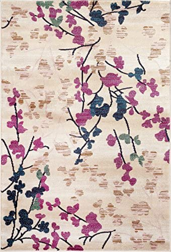 Contemporary Floral Cream Soft Area Rug 5'3″ x 7'3″