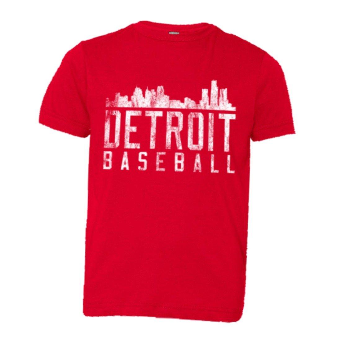Detroit Baseball Distressed Tigers Skyline Hq Teeredm Shirts