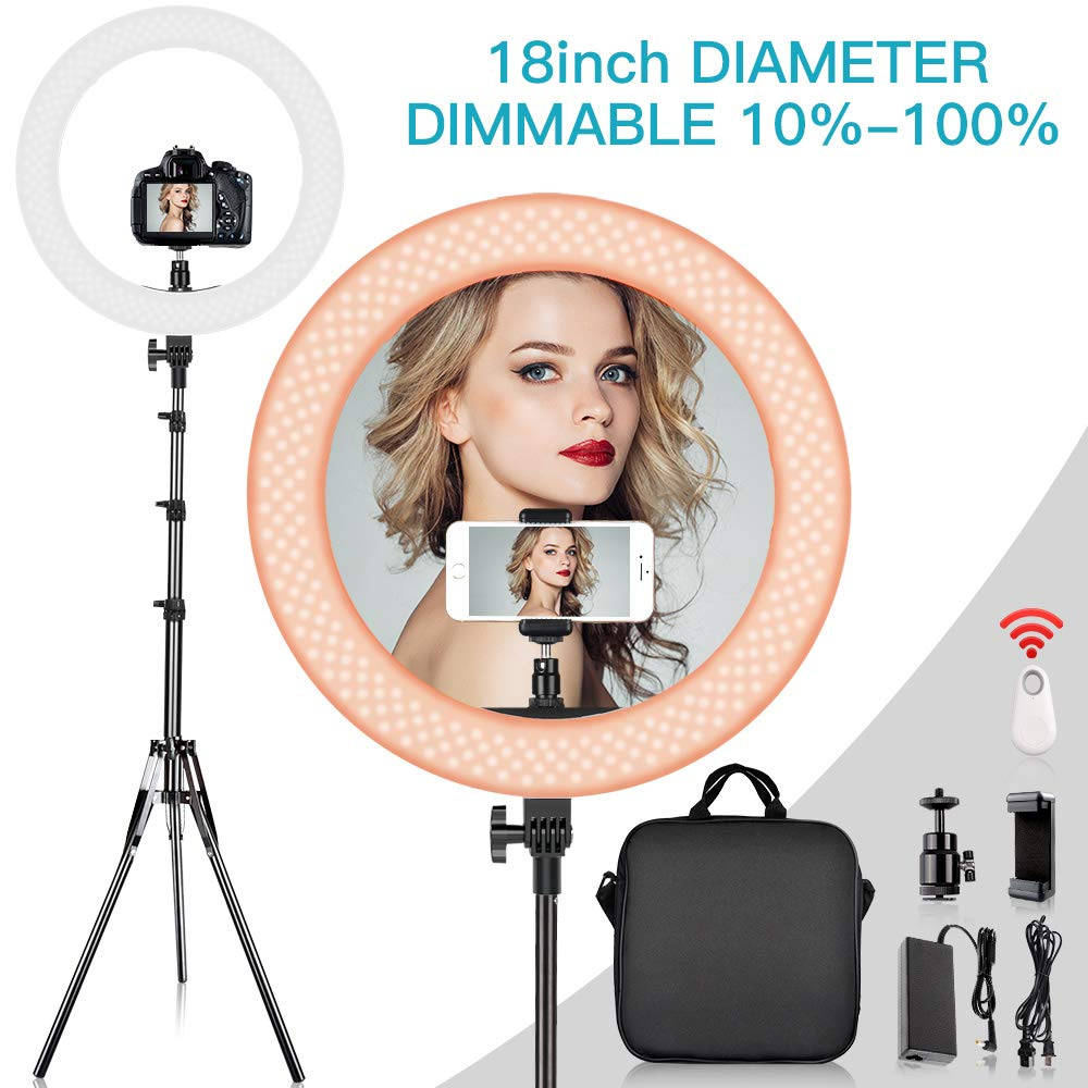 TRAVOR 18'' Ring Light with 198CM Light Stand Kit, Dimmable 60W 3200K/5500K LED Ring Light with Hot Shoe Adapter, Phone Holder, Remote Control for YouTube Makeup Phone Camera Video Shooting by Travor