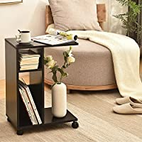 Snack Side Table Couch Coffee End Table, C Table Bedside Sofa Laptop Desk With Wheels Modern Wooden, Living Room Side Table for Home Magazines Books & Plants-Keep Snacks Drinks & Phone Easy Reach