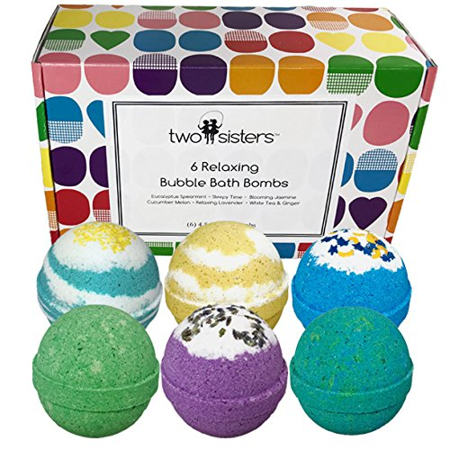 6 Relaxing BUBBLE Bath Bombs Set – Large Lush Spa Fizzy Kit, Best Gift Idea for Women, Moms, Teens, Girls – Homemade by Moms in the USA – Two Sisters Spa – Lavender, Vanilla, Eucalyptus
