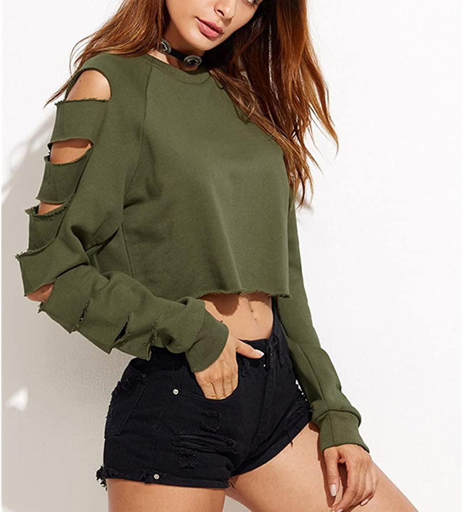 Starstreetcom Women Long Sleeve Ripped Sweatshirt Crop Tops Hollow Out Sleeve Cropped Tops Jumper T Shirt Pullovers