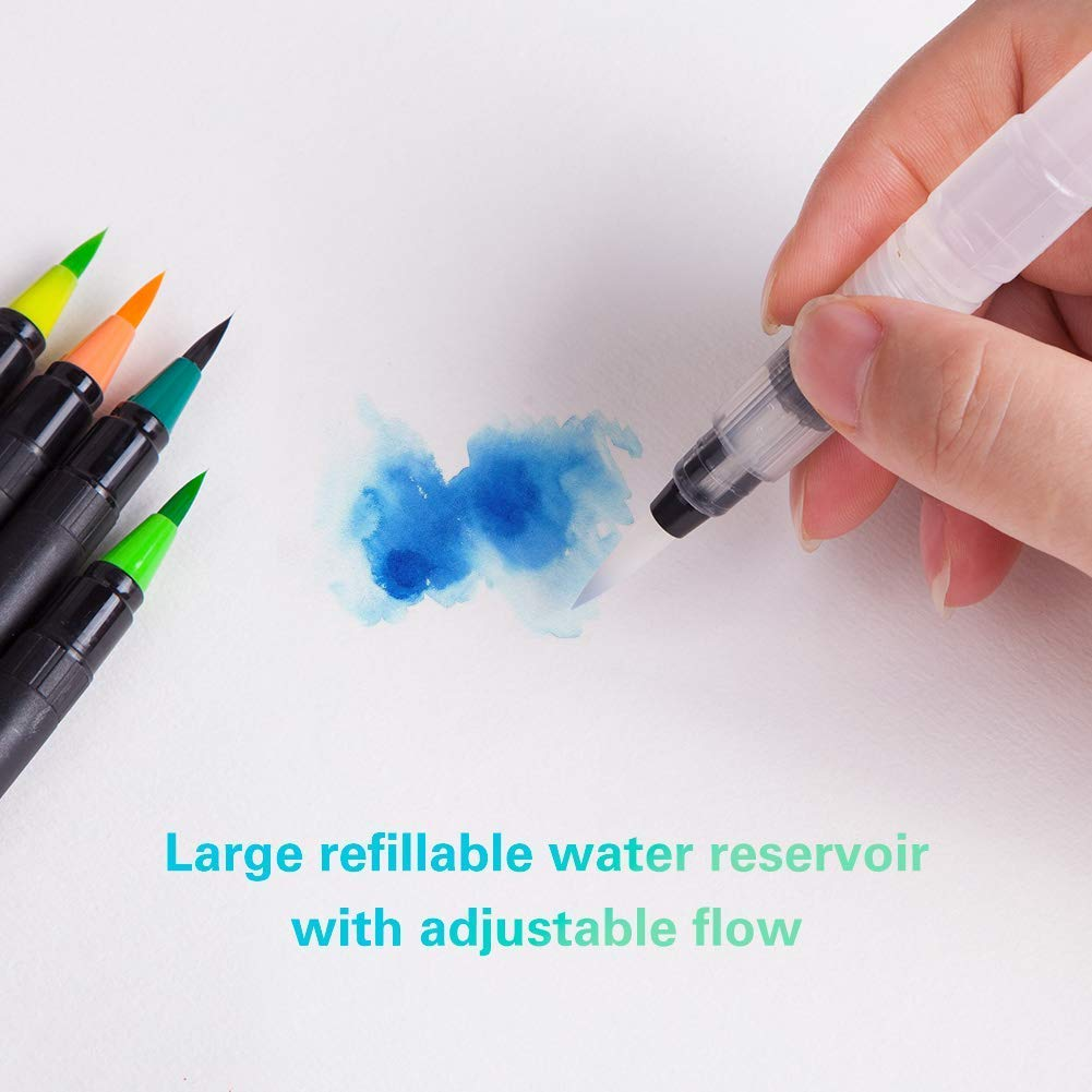 48 Colors Paint Markers Pen with Flexible Nylon Brush Tips Drawing Coloring Calligraphy for Artists Watercolor Brush Pens