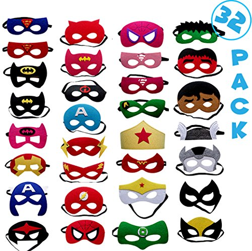 Fieston Express- 32 Pieces Super Hero Masks for Kids - For Boys and Girls - Perfect Party Favors - Assorted Styles and Colors - 3mm (Halloween Party Dc)