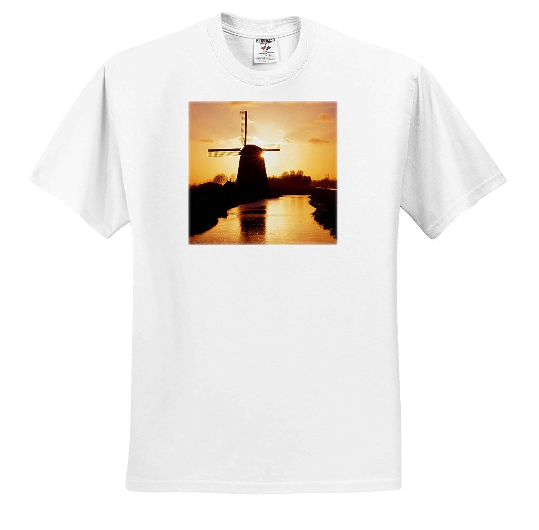 - Adult T-Shirt XL 3dRose Danita Delimont Nord Holland Netherlands Netherlands Windmill Along Canal ts/_313778