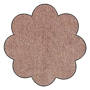 SLU3020-B75 Doormat / Door mat - Salonloewe - Nougat - Flower shaped ca. Ø 29.5 in