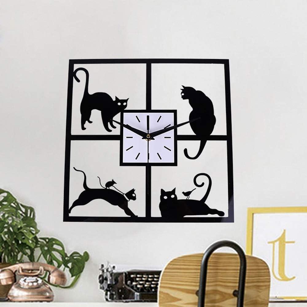 DLYGH Accesorios de casa Cuadrado del Gato Negro silencioso Reloj de Pared de Metal número Romano Cocina Dormitorio decoración del hogar Regalo: Amazon.es: Hogar