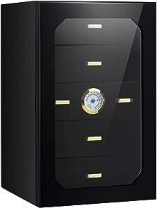 5 Drawers 130 Cigar Humidor Desktop with Hygrometer & Humidifier