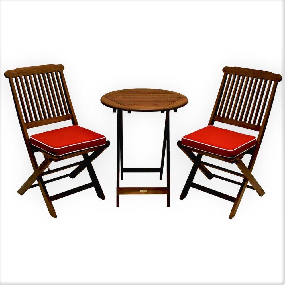 Conversation Patio Set Three Piece Wood Small Red Cushion Bistro Style  Folding Coffee Dining Round Table Portable Garden Deck Porch Pool  Decorative U0026 EBook ...