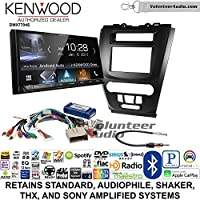 Volunteer Audio Kenwood DMX7704S Double Din Radio Install Kit with Apple CarPlay Android Auto Bluetooth Fits 2010-2012 Fusion (Black)