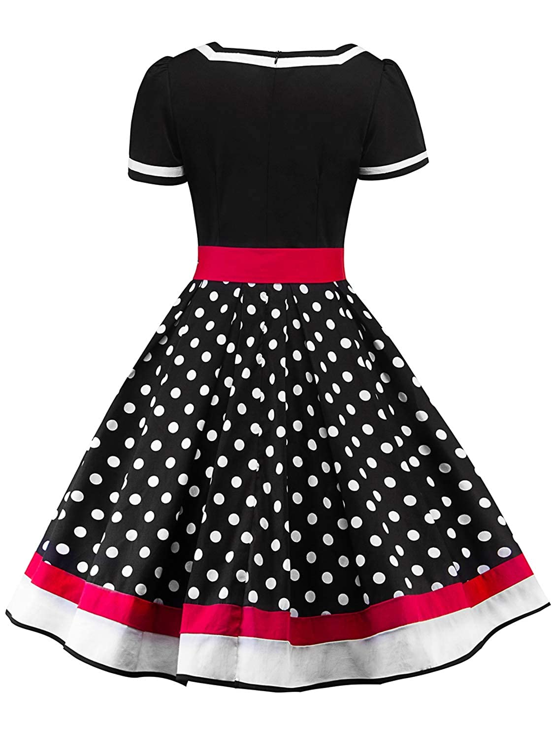 07e9249ac38c1 MisShow Women's Vintage 1950s Rockabilly Polka Dots V-Neck Belted Cocktail  Dress at Amazon Women's Clothing store: