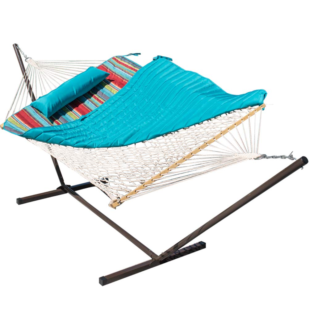 Lazy Daze Hammocks 12 Feet Steel Hammock Stand with Cotton Rope Hammock Combo, Quilted Polyester Hammock Pad and Pillow, Blue Ocean Stripe