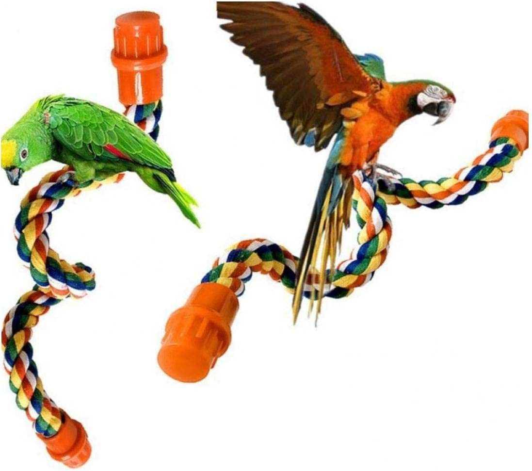 BYFRI 1pc Cuerda Que Sube Aves Loro Hilo de algodón Permanente Cuerda Posición elevada Juguete Garra del pájaro del Loro del Juguete Molienda Jaula Accesorios, S, 40cm