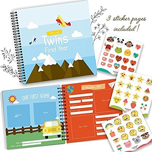 Twins First Year Memory Book - A Gorgeous Baby Keepsake Journal to Cherish Your Twin's First Year Forever! Includes Stickers, Family Tree, Holidays, Letters from Mom & Dad and Much More