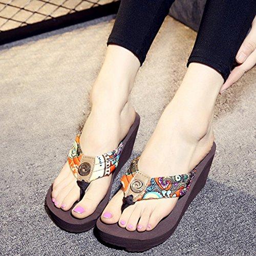 verano impermeabilizan caracteres sandalias con Las los pies Los Los arrastran del Pendiente la sandalias de de zapatos antideslizantes playa gruesas de las de alto las zapatillas pinzas Cómodo C tacón a64xw85